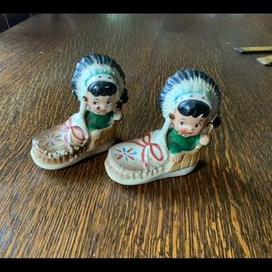 Antique Indian in Moccasins Salt-n-Pepper Set